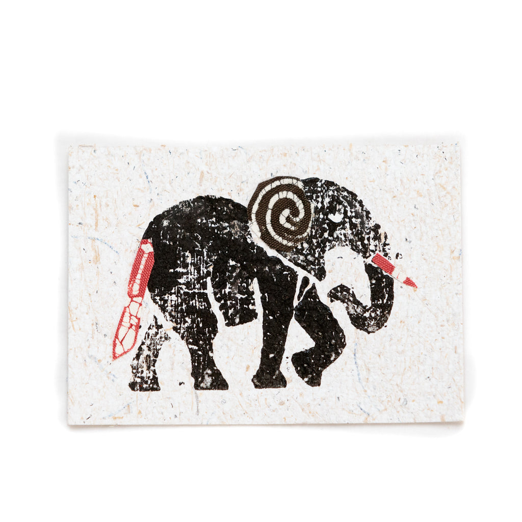 Cards made from recycled banana paper and fabric - Animals
