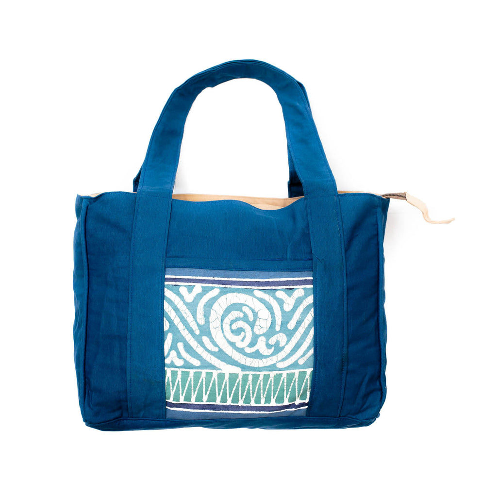 Hand-painted Safari Hand Bags in blue colours