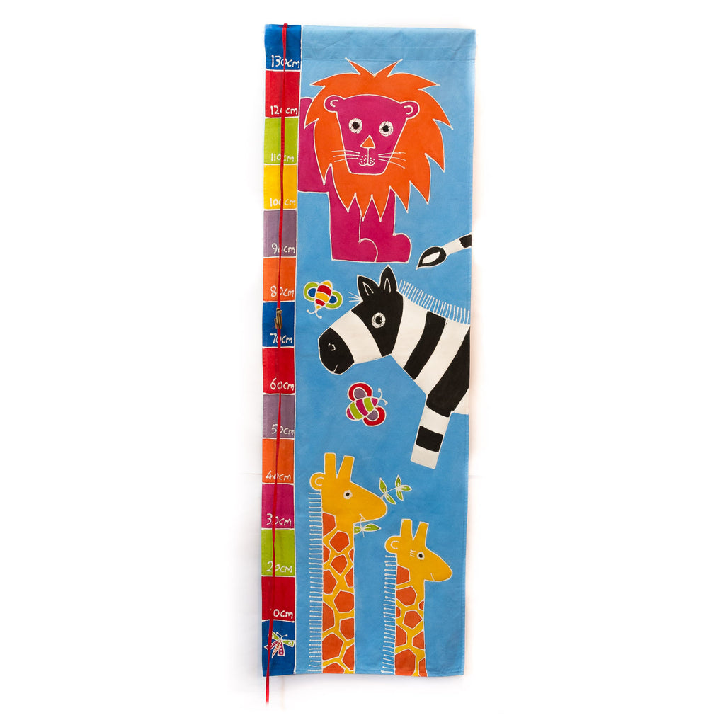 Hand-painted Kids' height chart with safari giraffe in cms