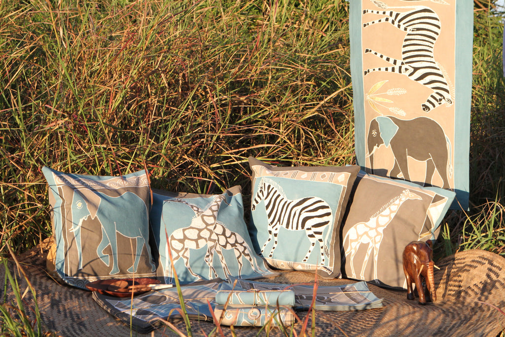 Hand-painted Napkins with various safari animals