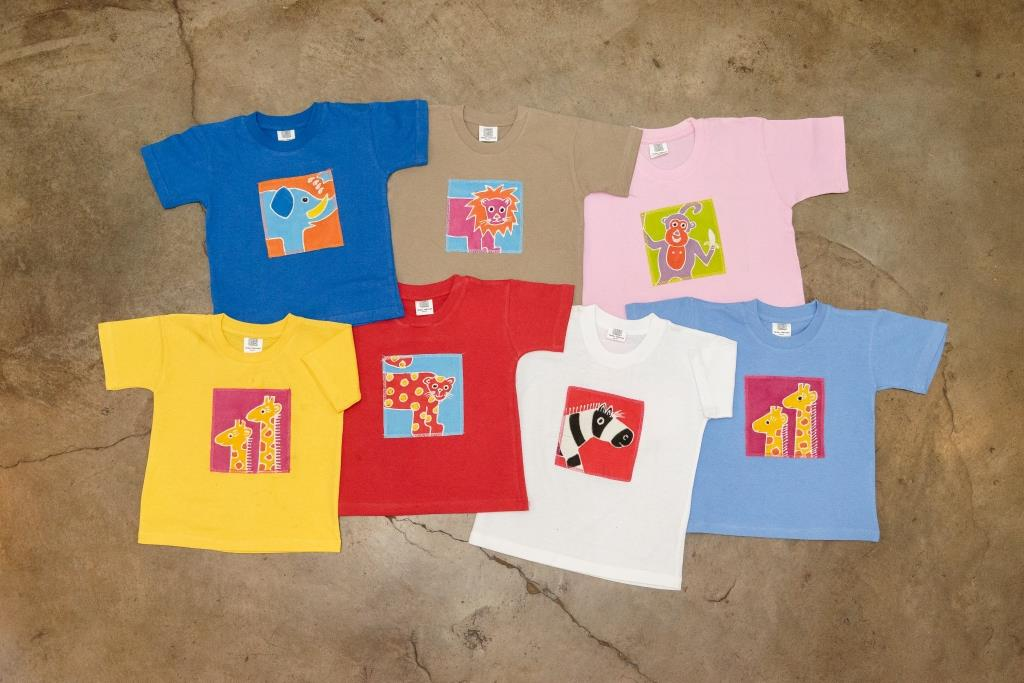 Hand-painted, fair-trade Kids' T-shirts- African print