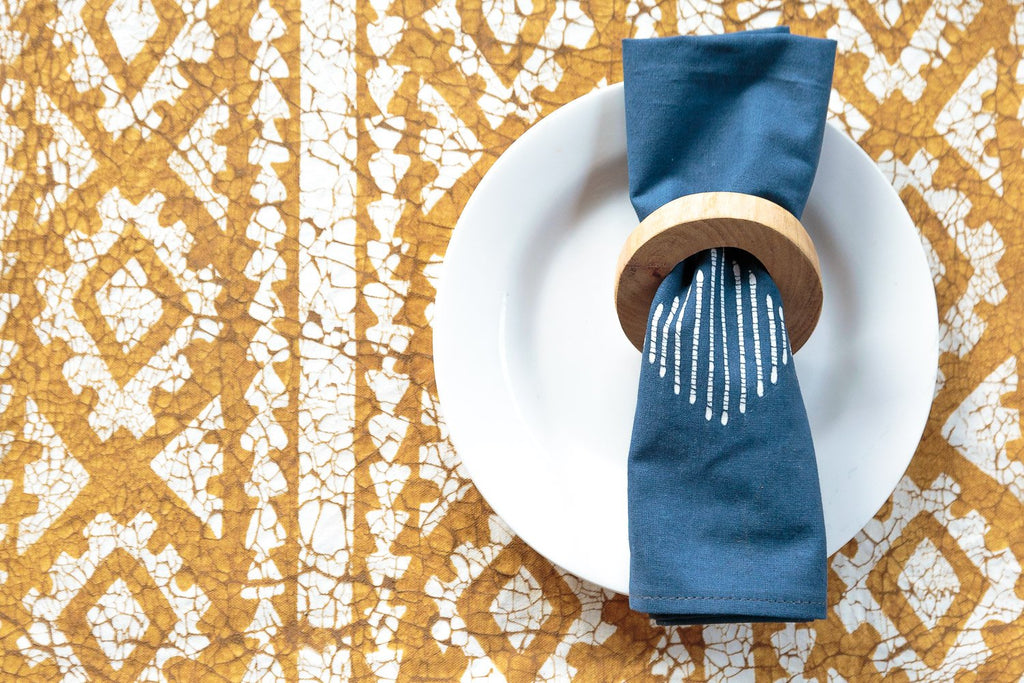 Table Mats - Moroccan Crackles Gold Mustard