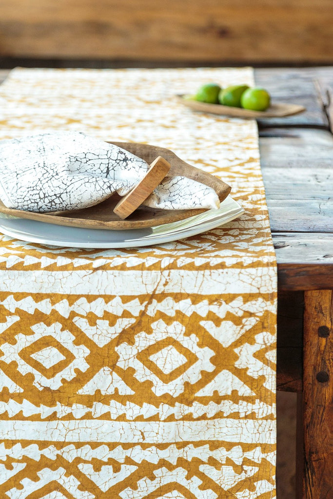 Table Runners - Moroccan Crackles Gold Mustard