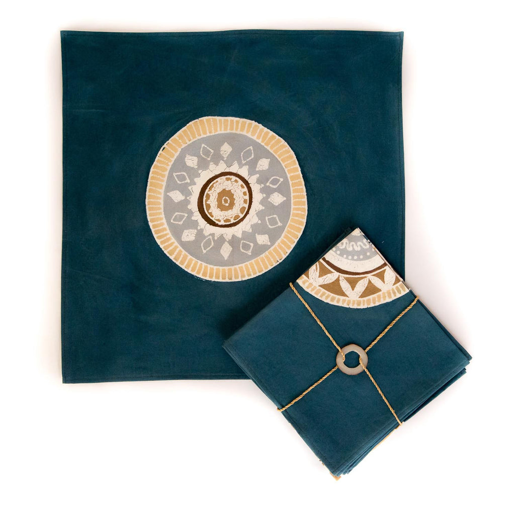 Hand-painted Napkins with blue African Circles