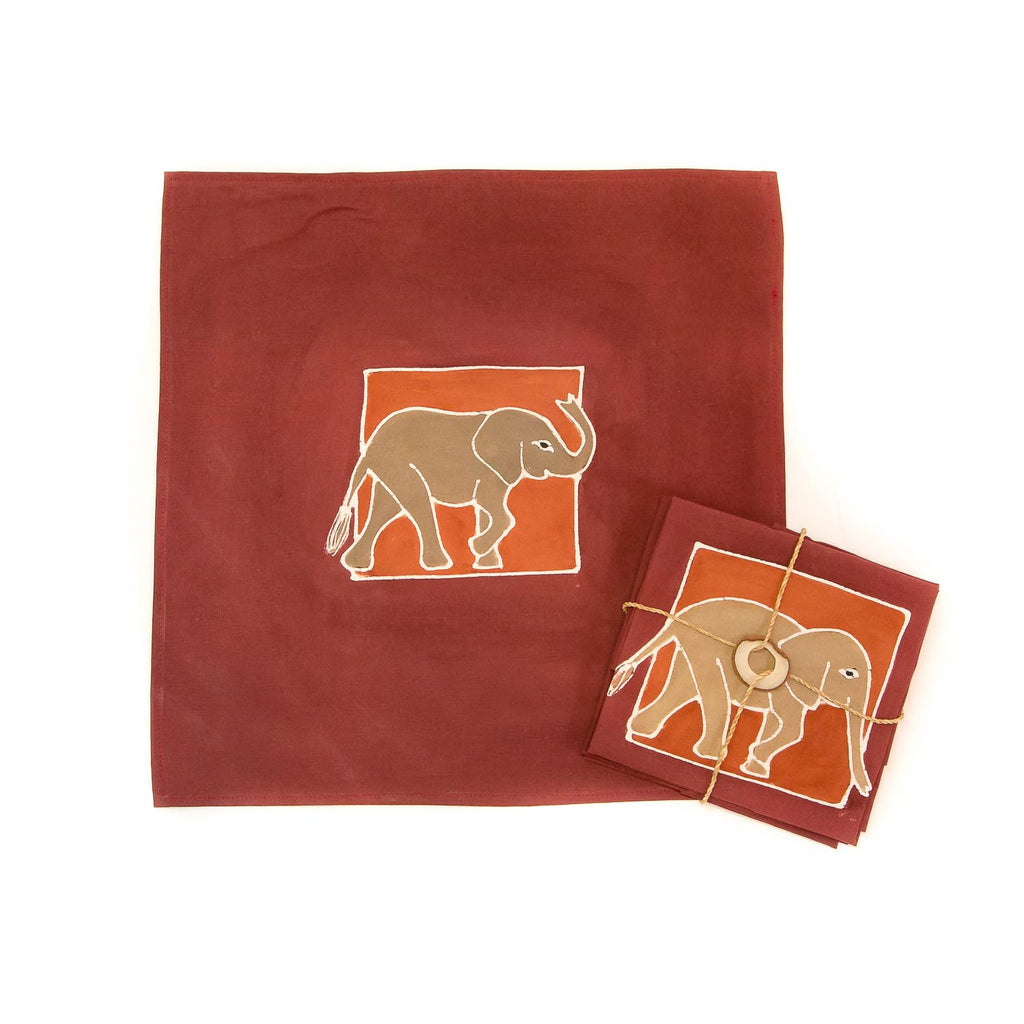 Hand-painted Napkins with african elephants
