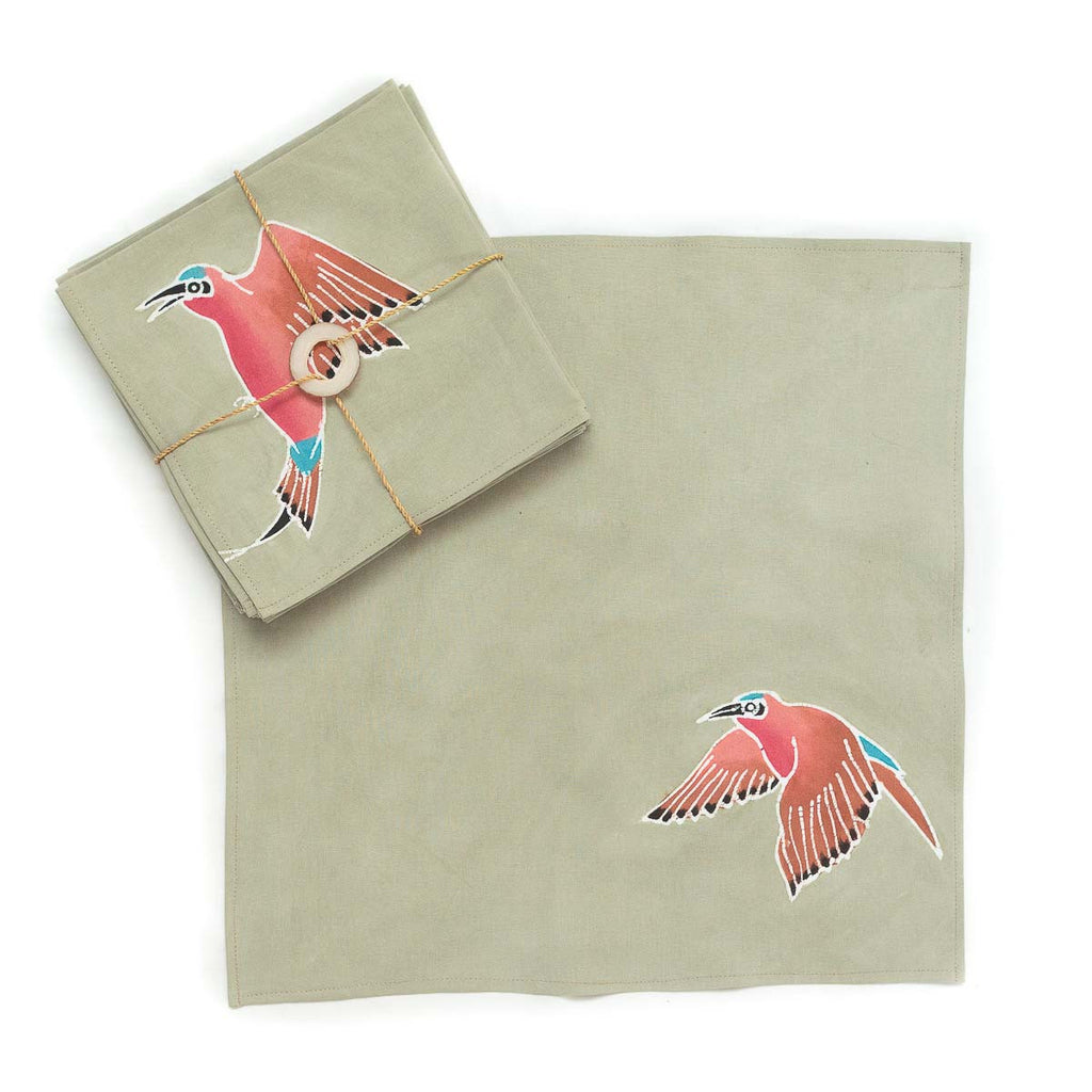 Hand-painted Napkins with african birds carmines