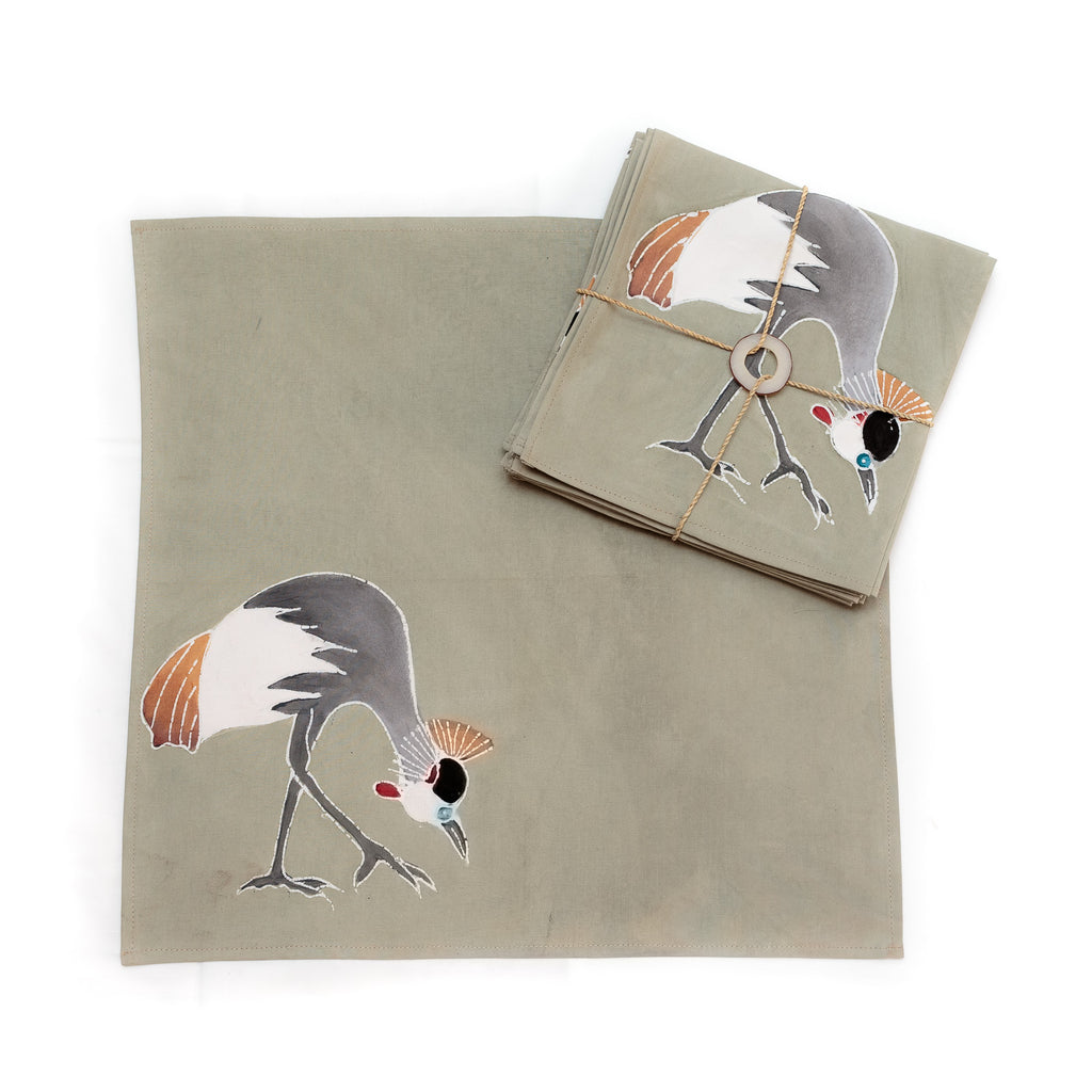 Hand-painted Napkins with african birds crowned cranes