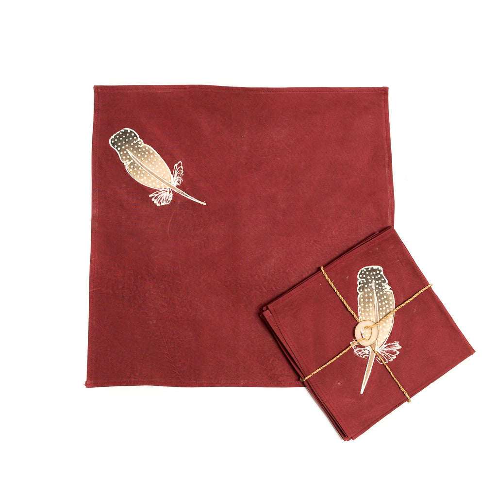Hand-painted Napkins with african feathers