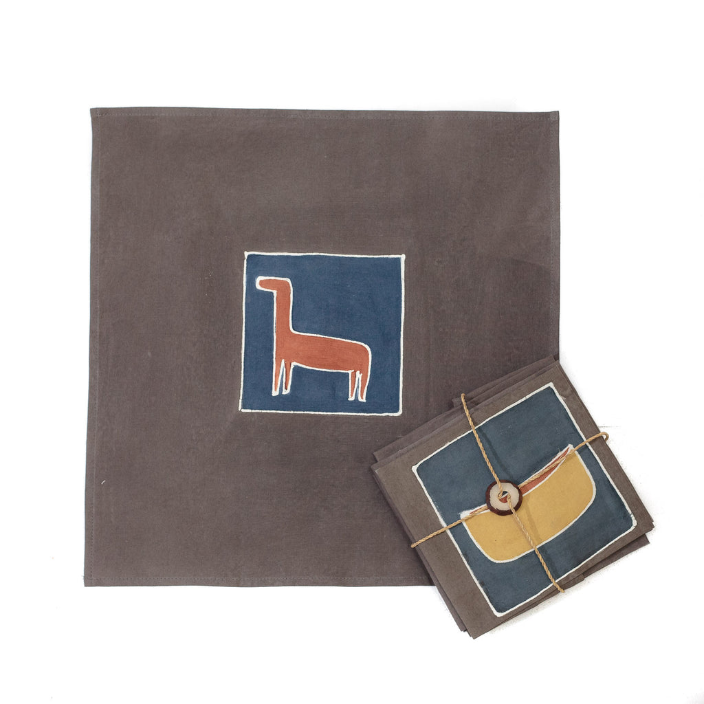 Hand-painted Napkins with natural safari elements