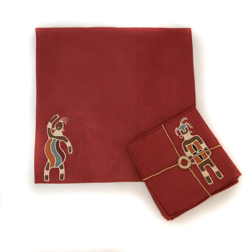 Hand-painted Napkins with massai warriors