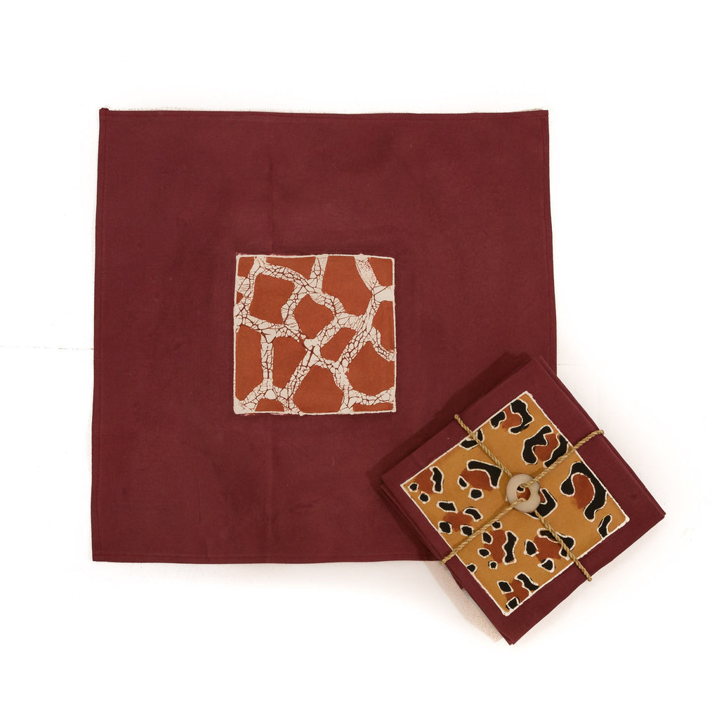 Hand-painted Napkins with animal print fabric