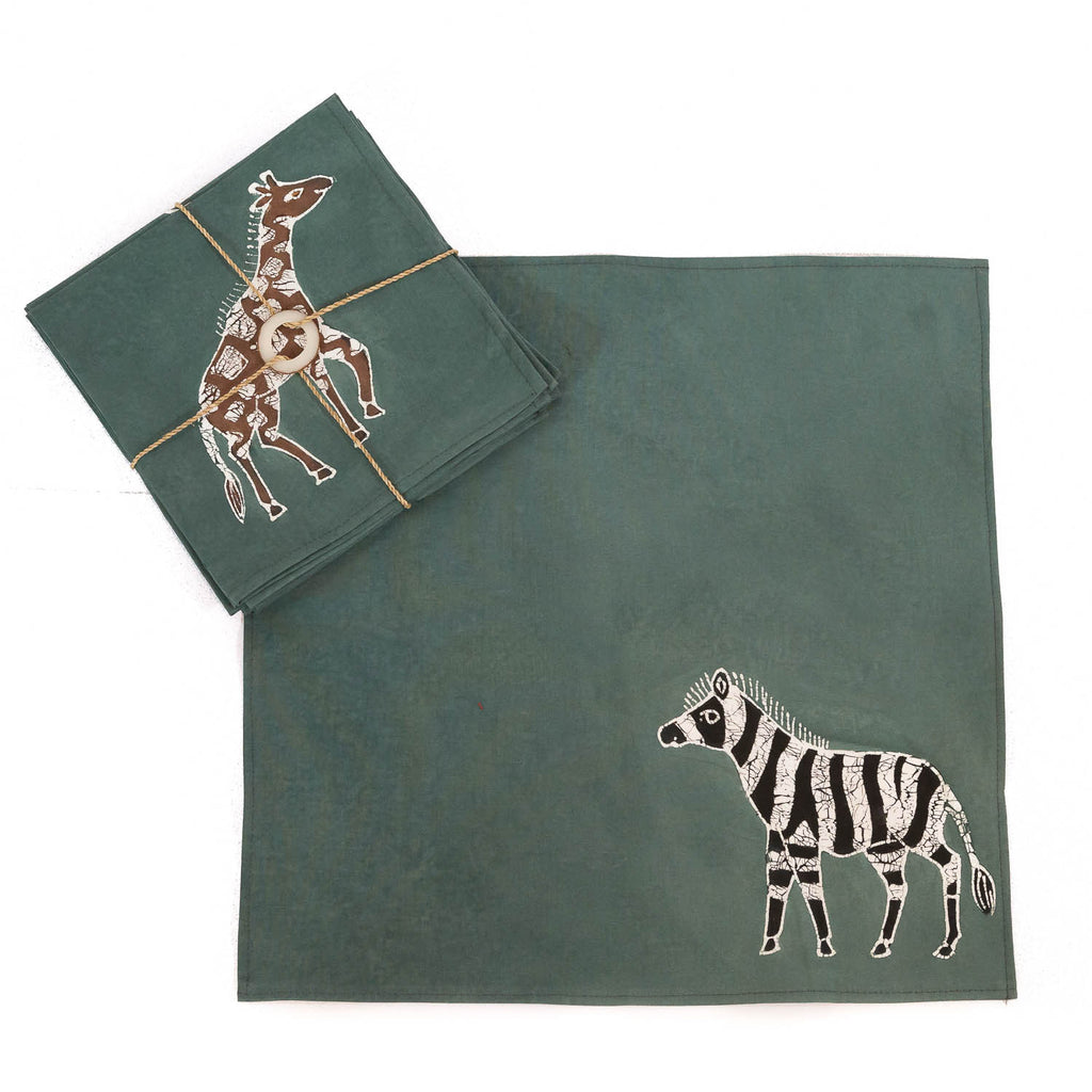 Hand-painted Napkins with various safari big game