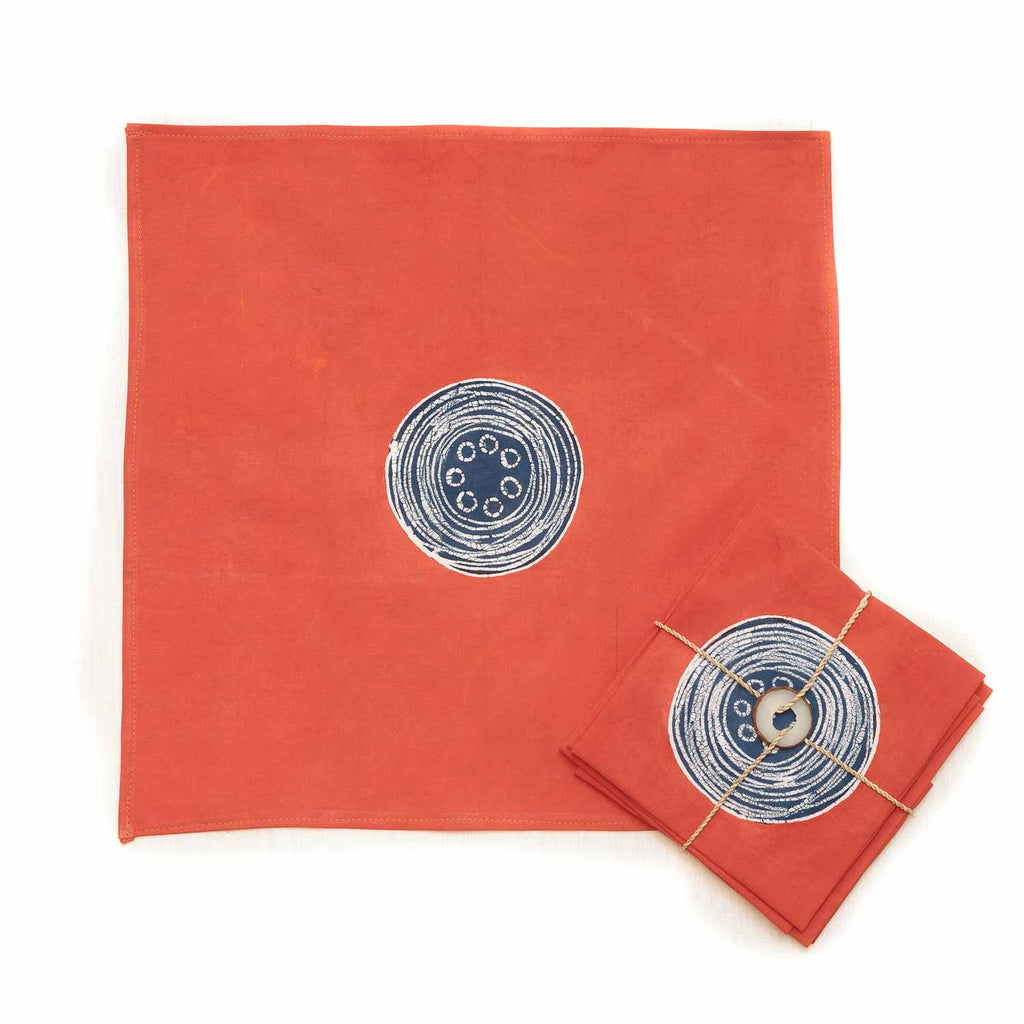 Hand-painted Napkins with vibrant african circles