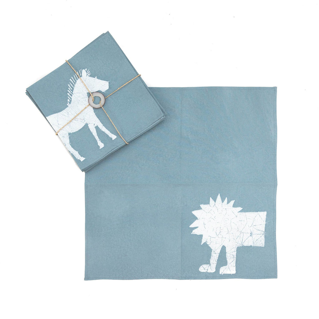 Hand-painted Napkins with crackle safari animals