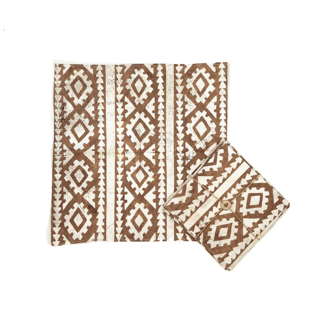 Hand-painted Napkins with large brown african print