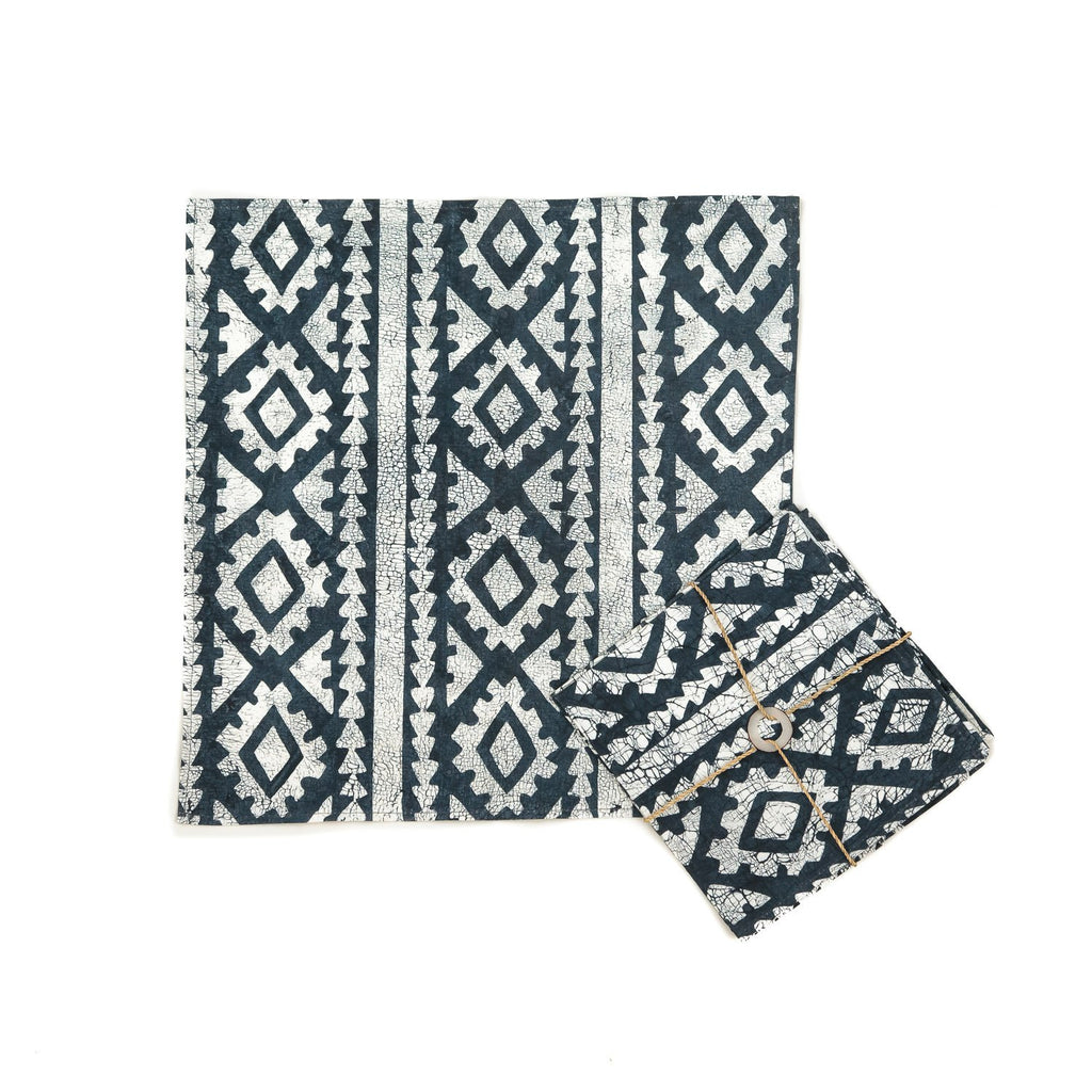 Hand-painted Napkins with large indigo blue african print