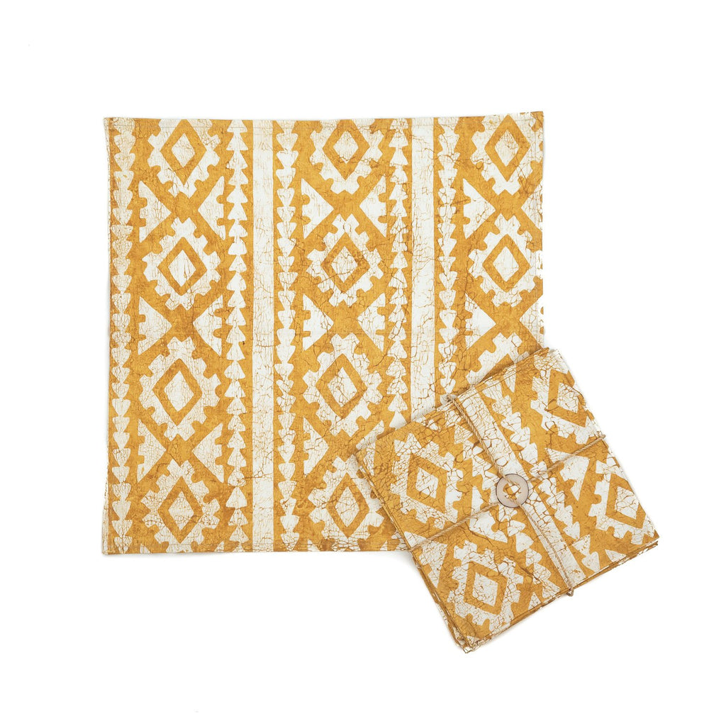 Hand-painted Napkins with large yellow african print