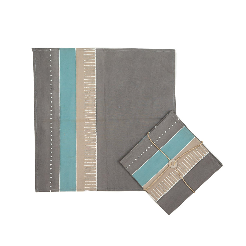 Hand-painted Napkins with african patterns in teal and grey colours