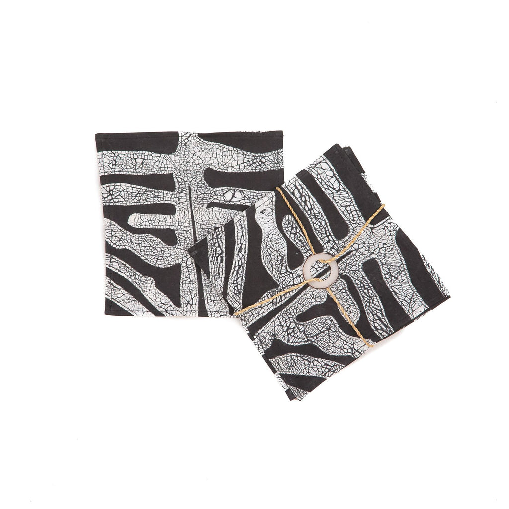 Hand-painted Napkins with bold zebra print pattern