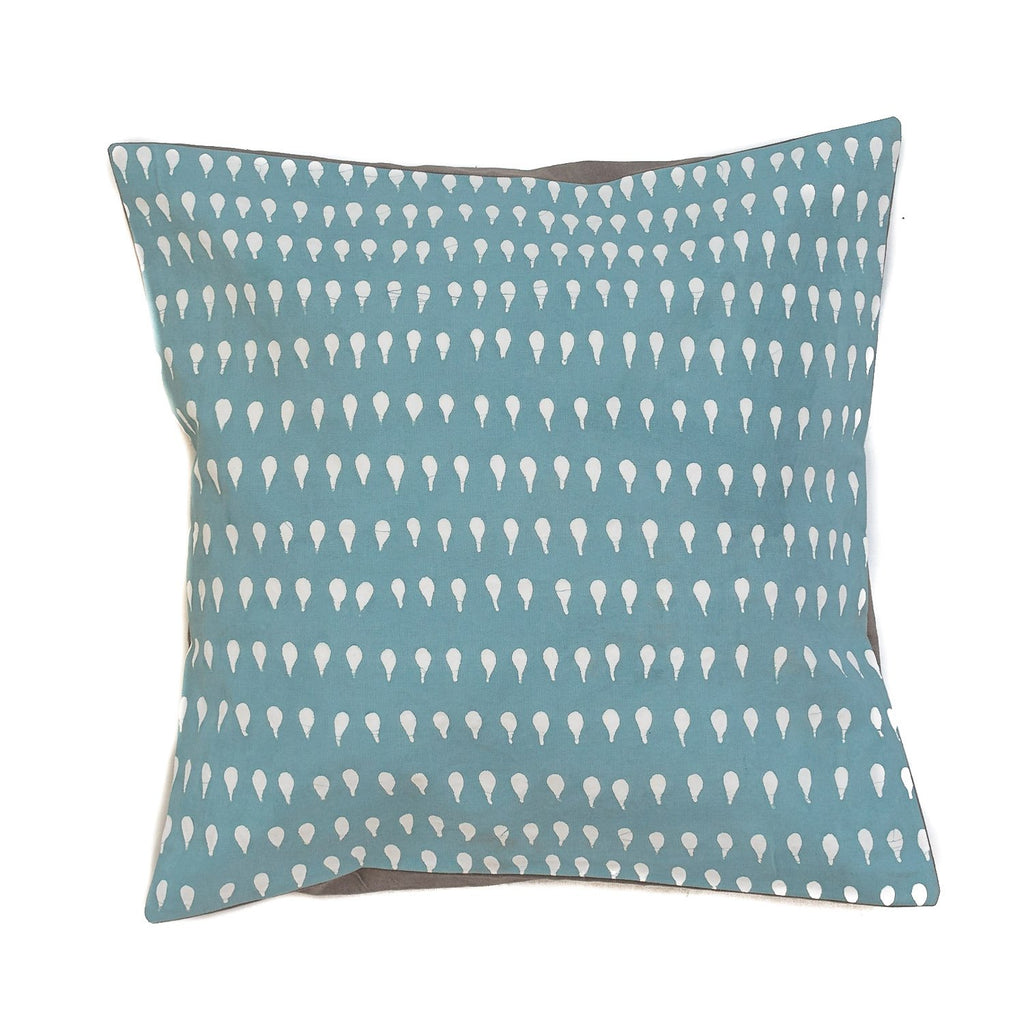 Throw Pillow with geometric patterns in teal colour Handmade in Africa