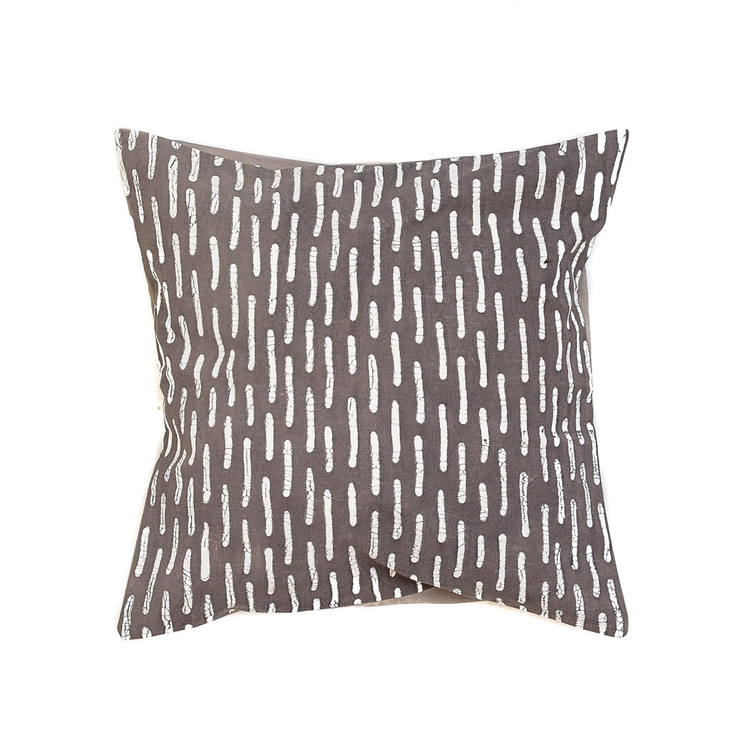 Throw Pillow with geometric print in dark grey colour