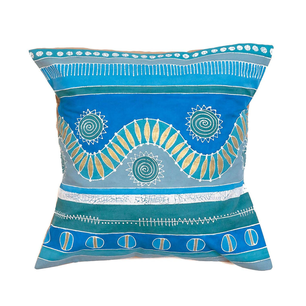 Throw Pillow with bright blue african pattern