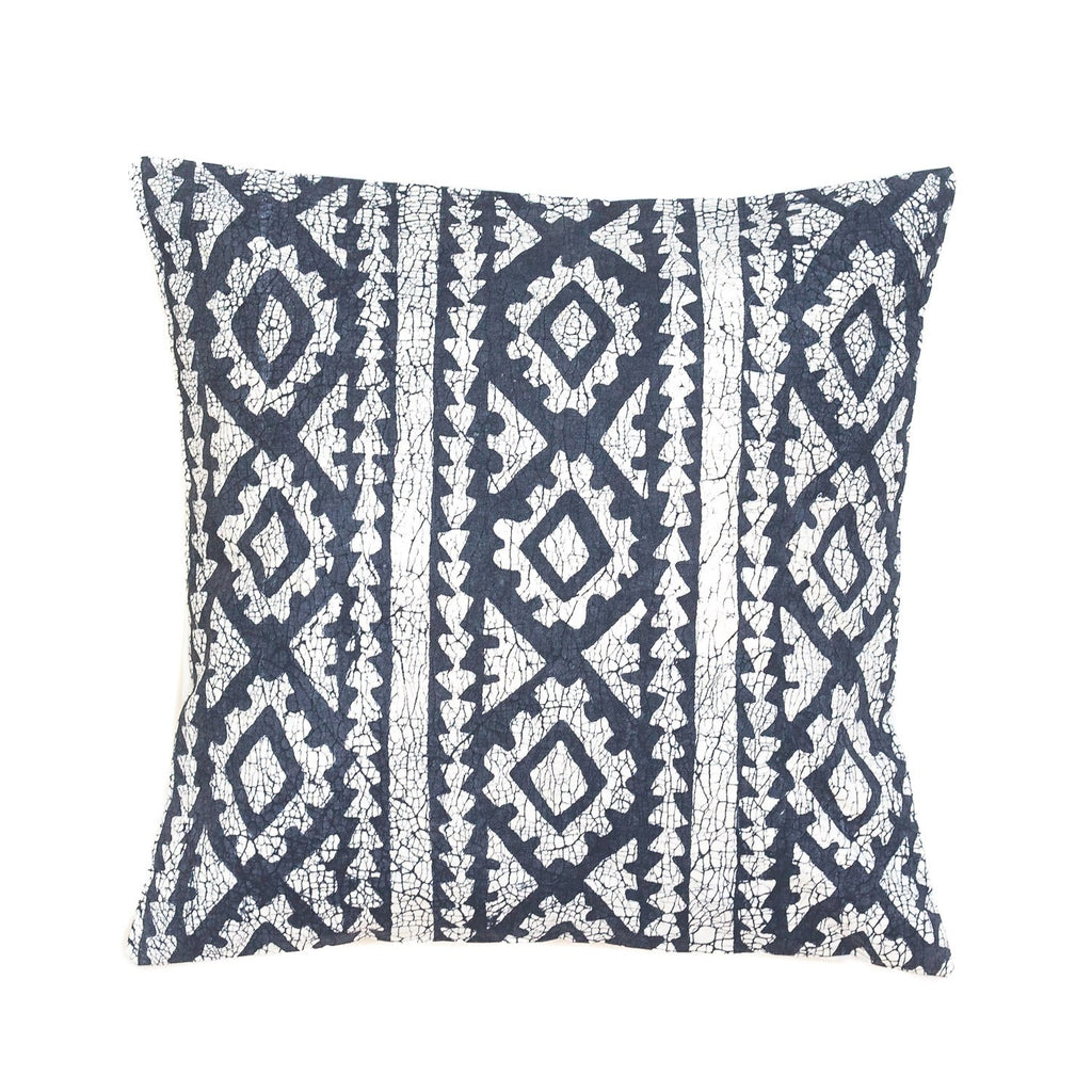 Throw Pillow with dark blue african print