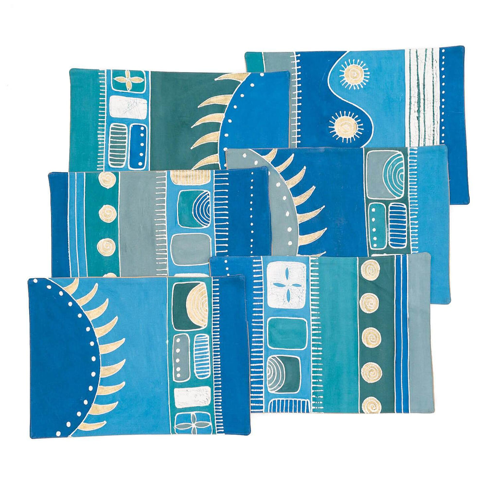 Handmade African placemats with bright blue colours