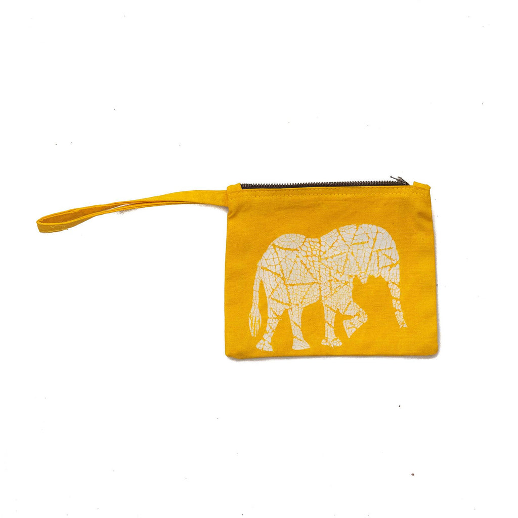 Hand-painted african purse with safari animals made by artisans