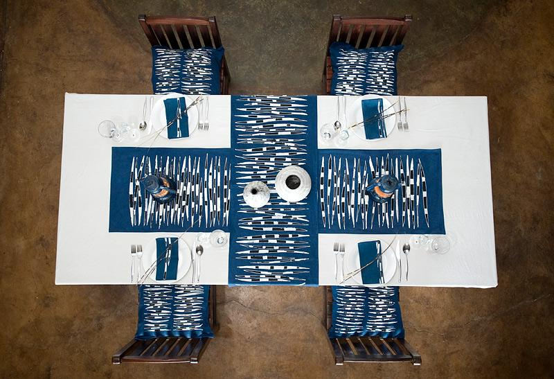 African placemats hand made with porcupine inspired design