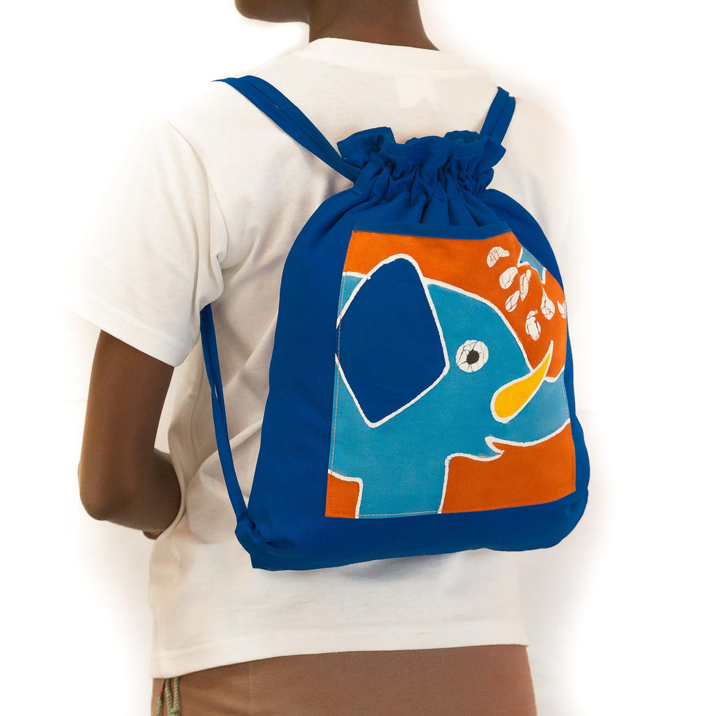 Hand-painted african Kids' Rucksack with elephant