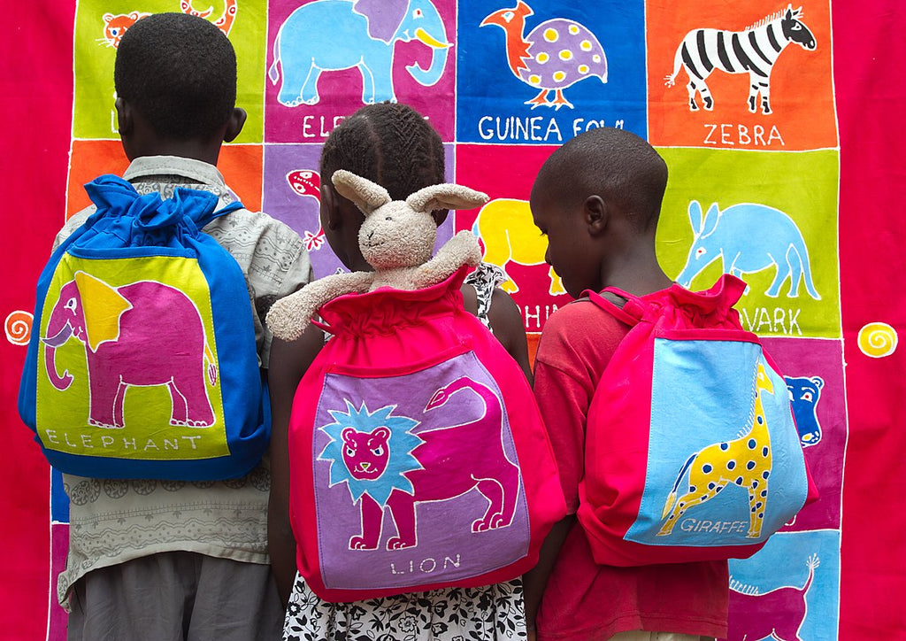 Hand-made african Kids' rucksack with elephant