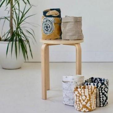 Storage Pots - Tribal Cloth Original Mushroom Lines
