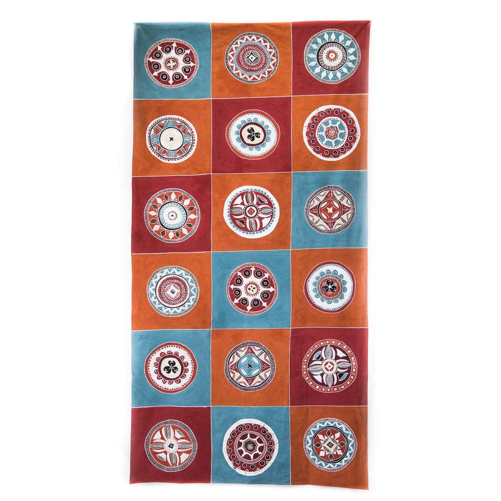 Hand-painted, fair-trade Tablecloths ~ African Circles Tribal Textiles, rural Zambia.