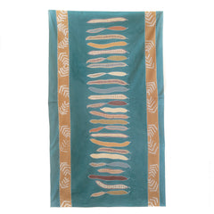 Hand made african tablecloth design with african flamboyant pod green