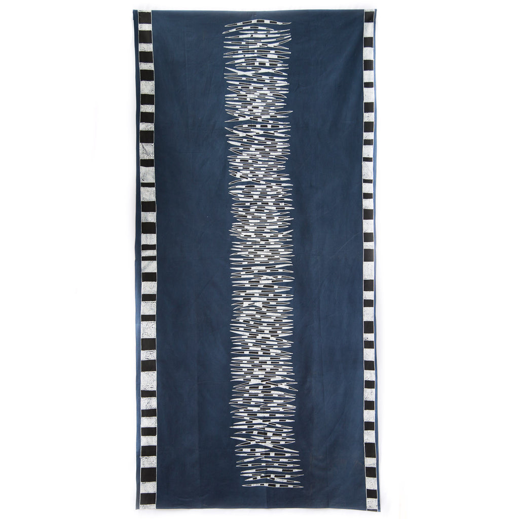 Hand made african tablecloth design with quills animal print indigo