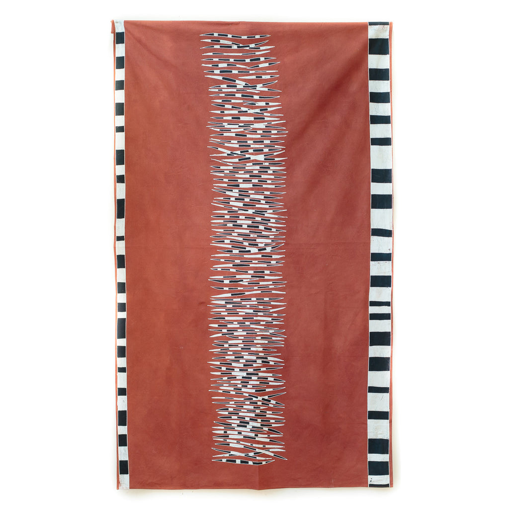 Hand made african tablecloth design with quills animal print red