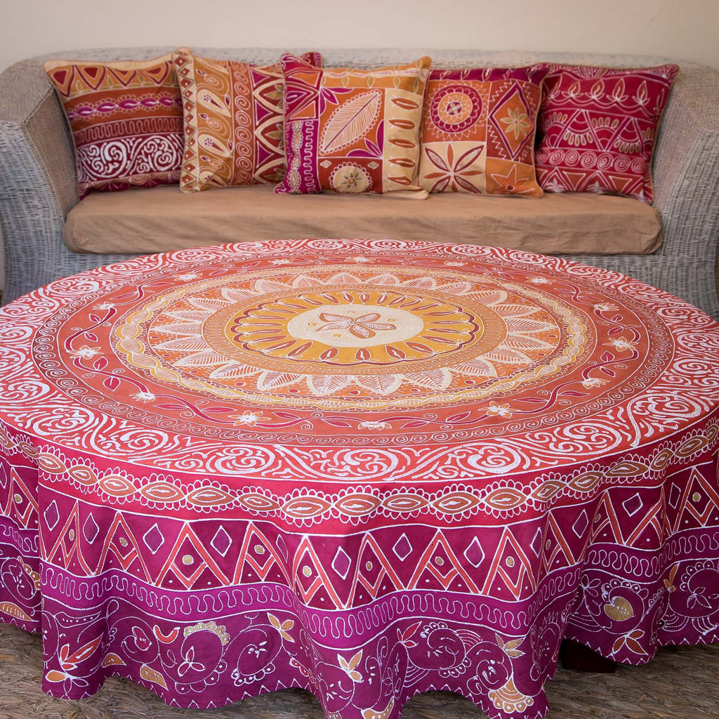 Hand-painted, fair-trade Round Tablecloths ~ Artisans' Gallery Tribal Textiles, rural Zambia.