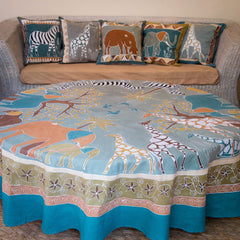 Hand-painted african Table cloths Round with earthy safari animals
