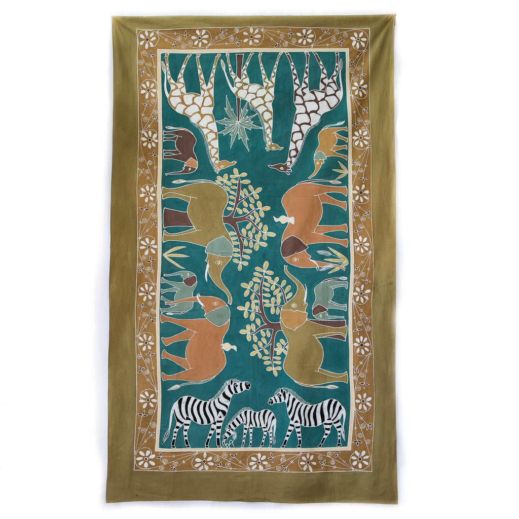 Hand made african tablecloth design with safari animals green