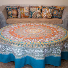Hand-painted african Table cloths Round with intricate earthy colours