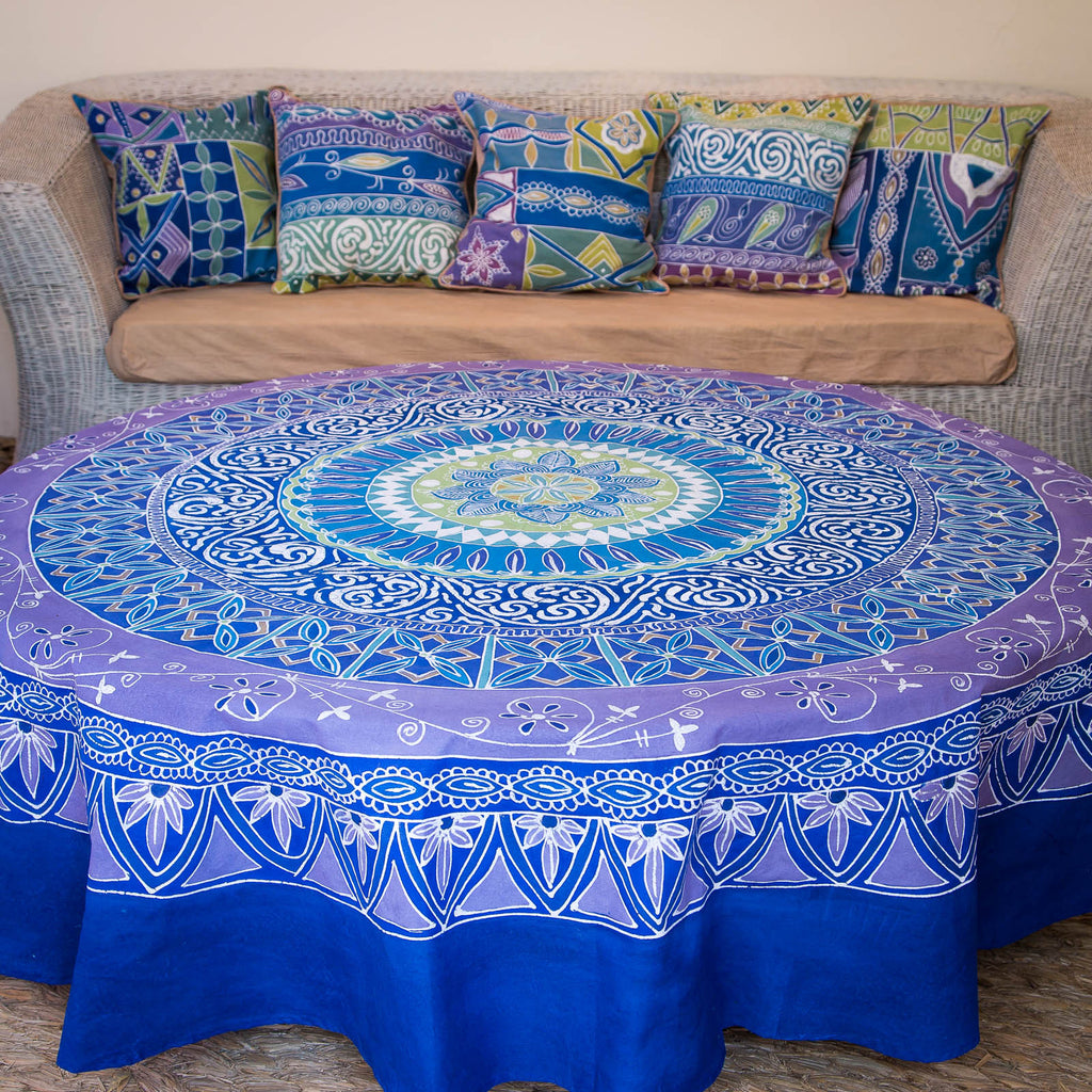 Hand-painted african Table cloths Round with intricate blue colours stripes