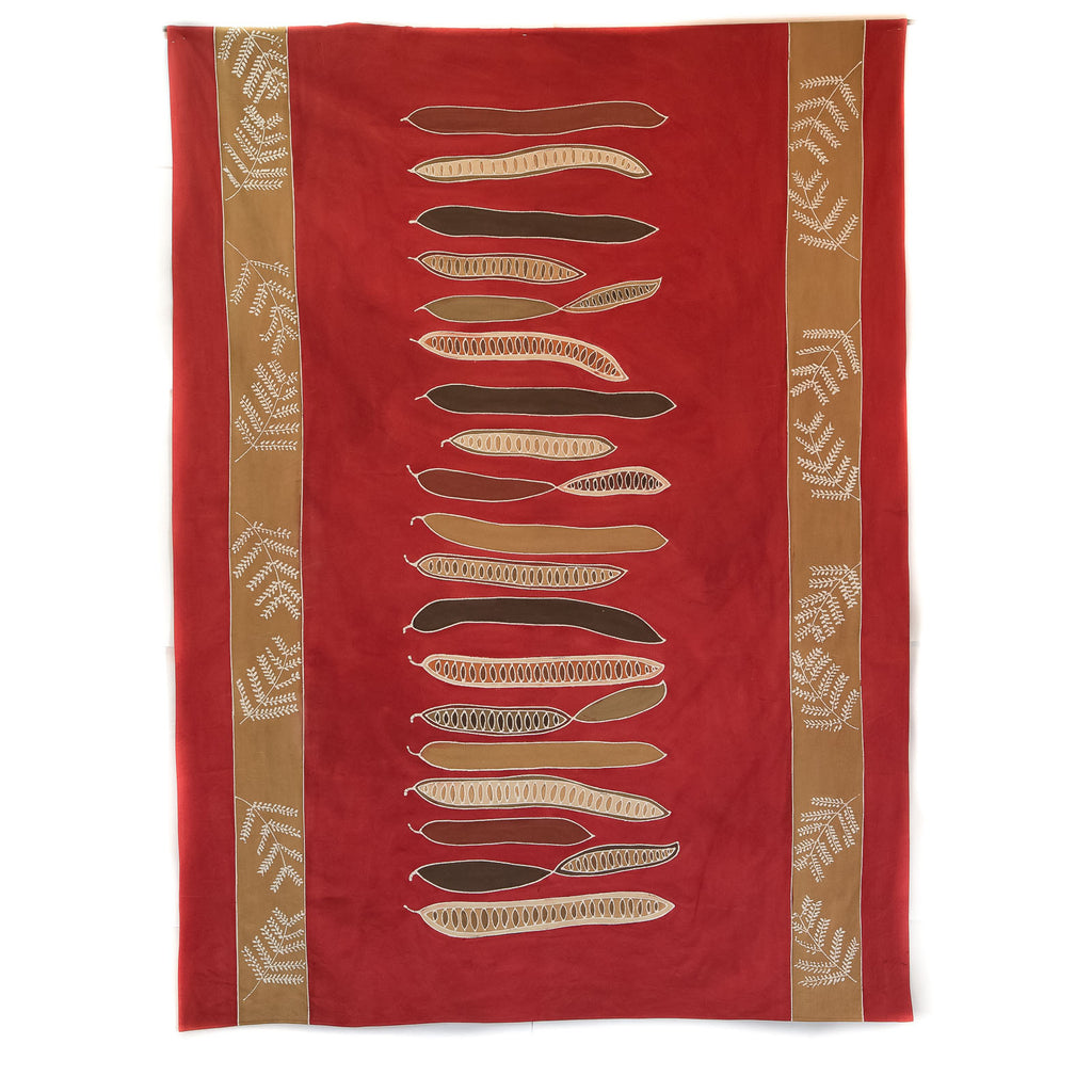 Hand made african tablecloth design with african flamboyant pod red
