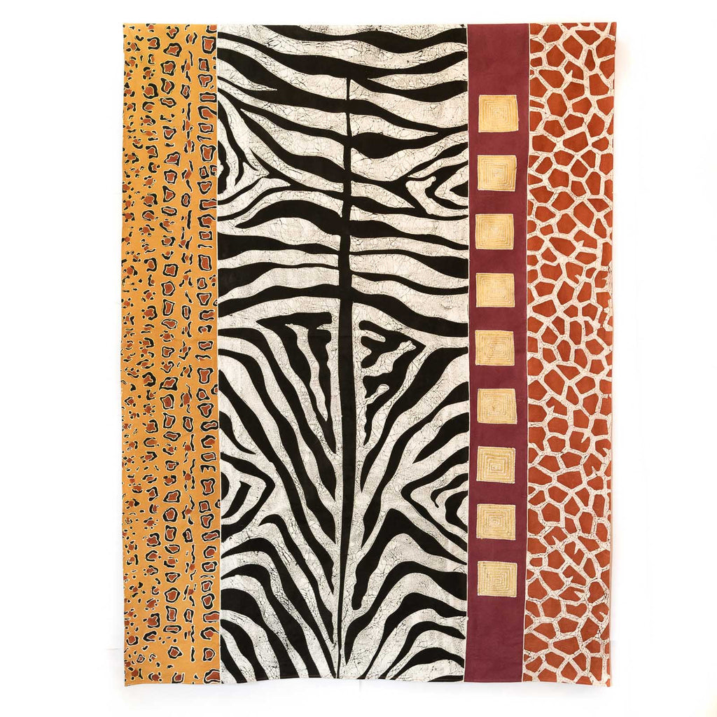 Hand made african tablecloth design with animal patterns