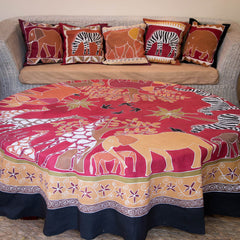 Hand-painted, fair-trade Round Tablecloths ~ Various Safari Animal Tribal Textiles, rural Zambia.
