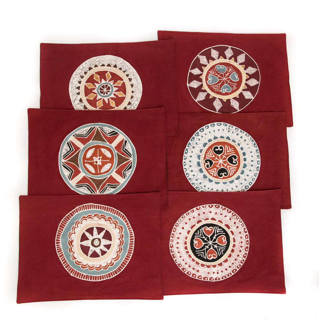 African placemats hand made with red circles