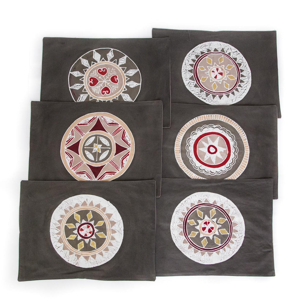 African placemats hand made with smoke circles