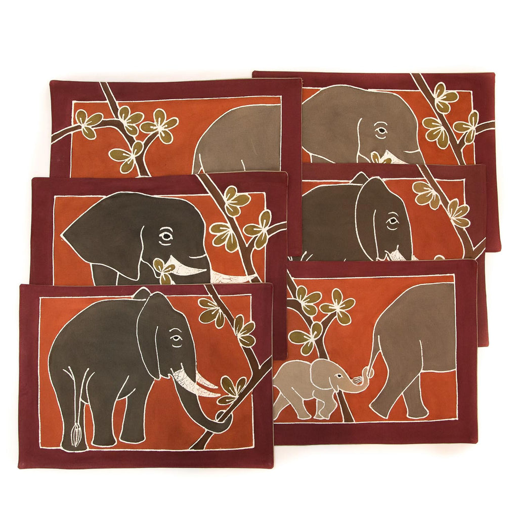 African placemats hand made with elephant design