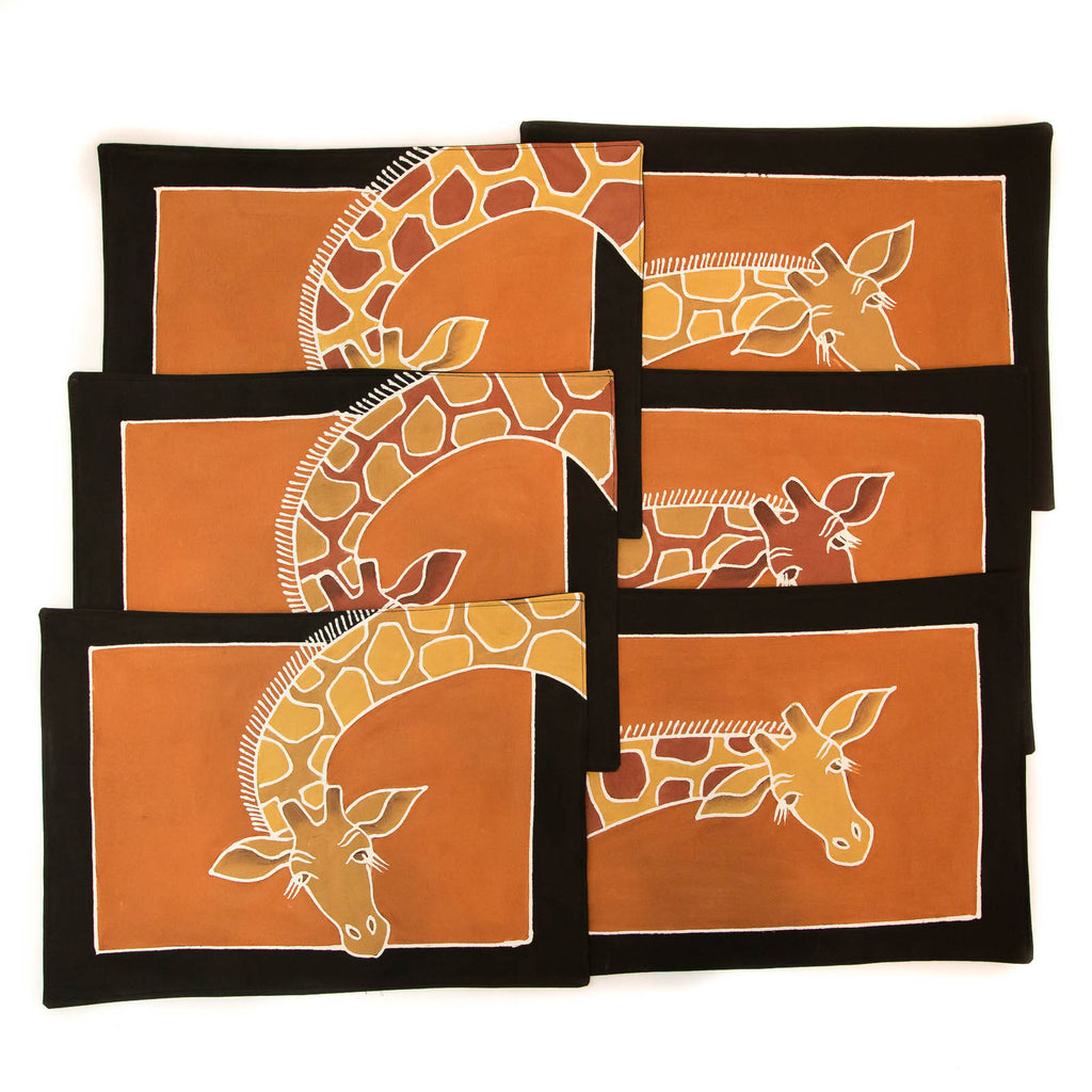 African placemats hand made with giraffe design