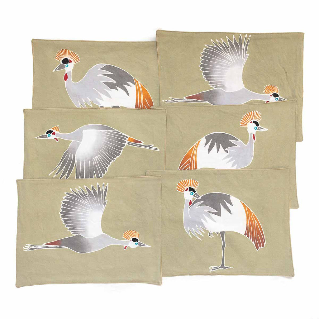 African placemats hand made with bird crowned cranes design